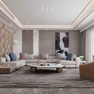 現代簡約風格客廳模型