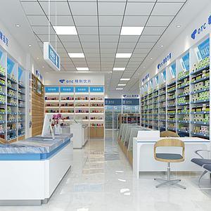 現代藥房藥店3d模型