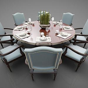 現代風格餐桌椅模型