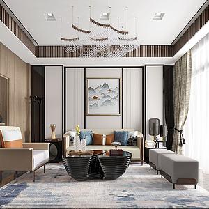 新中式客廳模型
