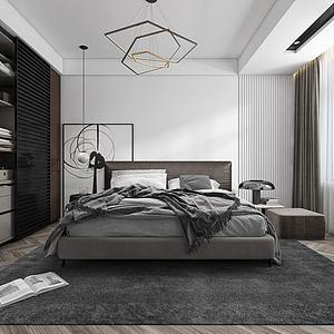 現代黑白灰臥室模型