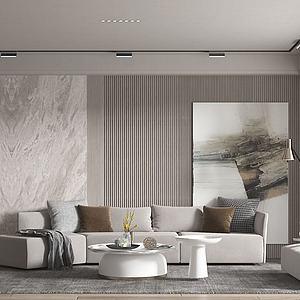 現代客廳沙發茶幾組合模型