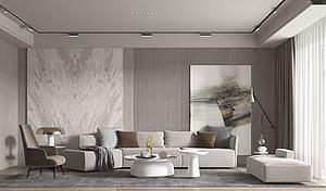 現代客廳沙發茶幾組合模型3d模型