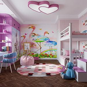 臥室,女孩房模型