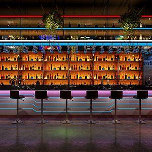 現代酒吧吧臺3d模型