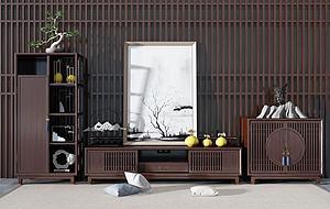 中式電視柜裝飾柜模型3d模型