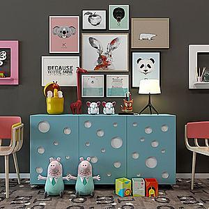 創意兒童房邊柜裝飾柜3d模型