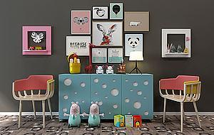 創意兒童房邊柜裝飾柜模型3d模型
