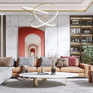 現代風格的客廳模型