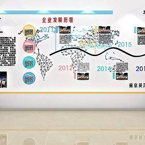 現代文化墻展廳文化墻模型