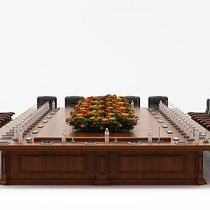 現代經典大會議桌3d模型