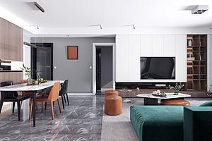現代輕奢風格客廳餐廳模型3d模型