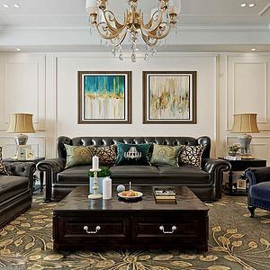 現代簡美式風格客廳模型