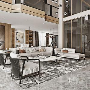 現代風格別墅客廳模型