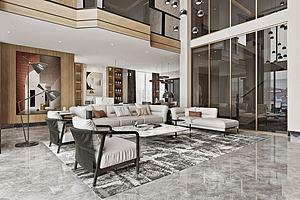 現代風格別墅客廳模型3d模型