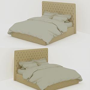 美式簡約泡泡床頭板雙人床3d模型