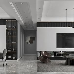 現代極簡黑白灰簡約客廳模型