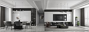 現代極簡黑白灰簡約客廳模型3d模型