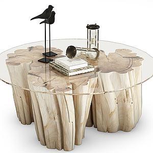 現代樹墩茶幾模型