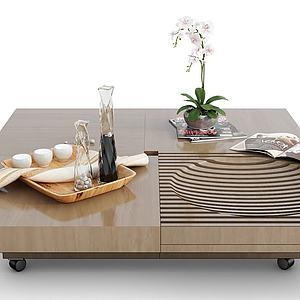 現代裝飾品木質茶幾模型