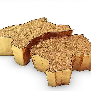 現代金屬木樁木墩茶幾模型