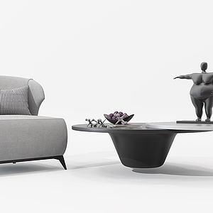 現代單人沙發茶幾模型
