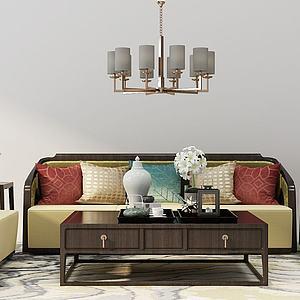 新中式沙發茶幾組合模型