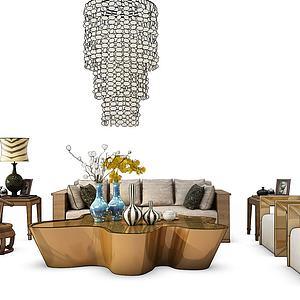新中式沙發茶幾模型