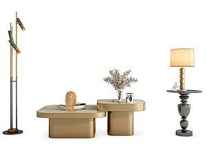 現代金屬飾品擺件茶幾模型3d模型