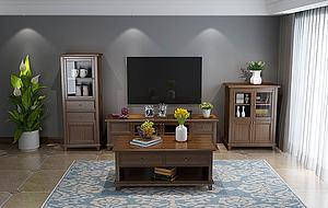 美式歐式實木電視柜茶幾模型3d模型