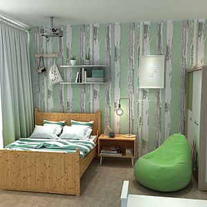 田園風臥室模型