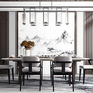 新中式餐廳模型