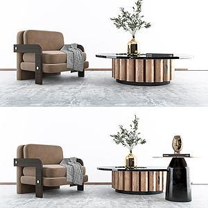現代單椅茶幾模型