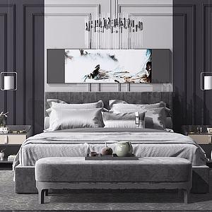 現代雙人床模型