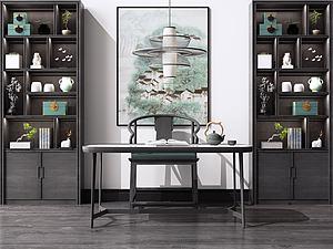 中式書桌模型3d模型
