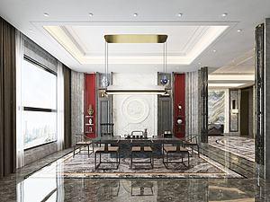 新中式,風格茶室模型3d模型