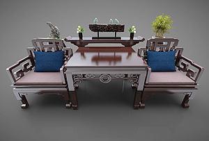 中式桌椅模型3d模型