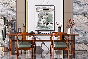 新中式餐桌椅模型3d模型