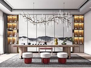 新中式茶室模型3d模型