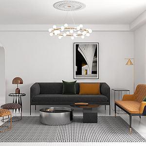 現代輕奢客廳沙發茶幾模型