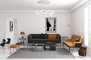 現代輕奢客廳沙發茶幾模型3d模型