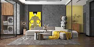 混搭客廳模型3d模型