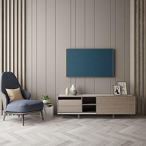現代風格電視墻模型3d模型