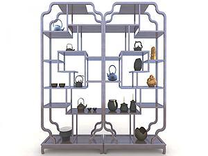 現代中式博古架飾品模型3d模型