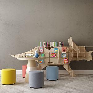 幼兒園裝飾地柜模型3d模型