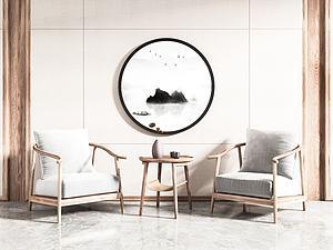 新中式休閑椅模型3d模型