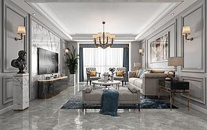 美式輕奢客廳餐廳模型3d模型