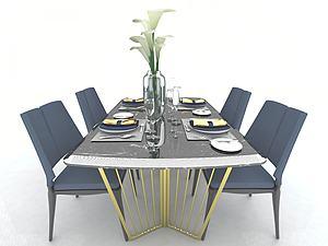 現代餐廳家具模型3d模型
