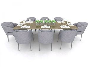 現代餐廳桌椅模型3d模型
