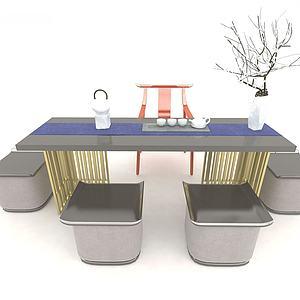 茶桌椅組合3d模型
